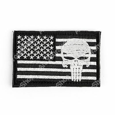 Punisher Skull Usa Army Flag Morale Badge Embroidered Tactical Hook Patch C