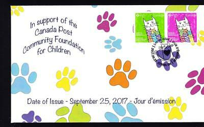 Canada 2017 limited edition FDC Foundation Cats, semi-postal se-tenant pair
