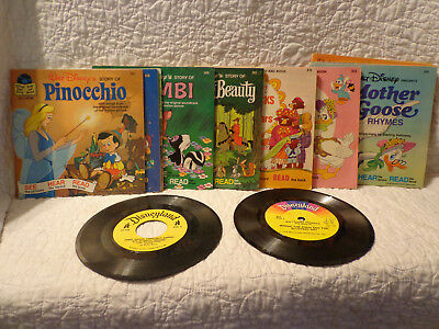 Walt Disney Disneyland 45 RPM Eleven Records with Books USED