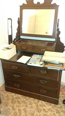 Antique dark wood dressing table with tilting mirror