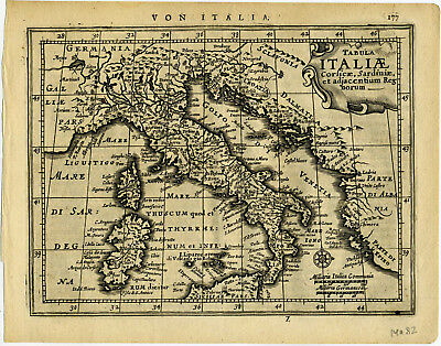 1651 Genuine Antique map Italy, Corsica, Sardinia. Jansson