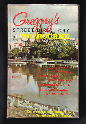Vintage Gregory's Street Diectory of MELBOURNE and Suburbs 1st Edition c1966 VG