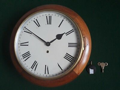Antique Medium Oak Station/school Clock With A Smiths Enfield 8-Day Movement