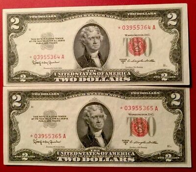 (2) Consecutive 1953C $2 Red Seal *STAR* Notes  -Crisp Uncirculated!!