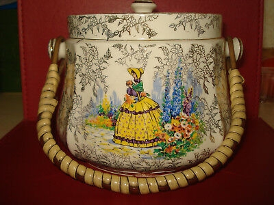 Vintage Sadler Crinoline Lady English Garden Gold Chintz Biscuit Barrel England