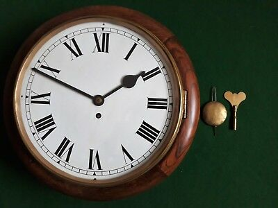 Antique Mahogany Station/school Clock With A Smiths Enfield 8-Day Movement