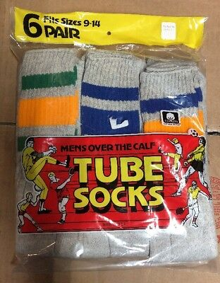 """Vintage 70's 80s Men's 9-14 Over The Calf Colored Striped 22"""" Tube Socks 6 Pair"""