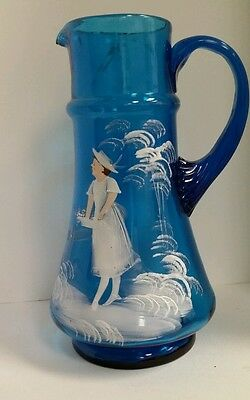 Victorian Blue Glass Mary Gregory Hand Painted Enameled Pitcher 9 3/8""