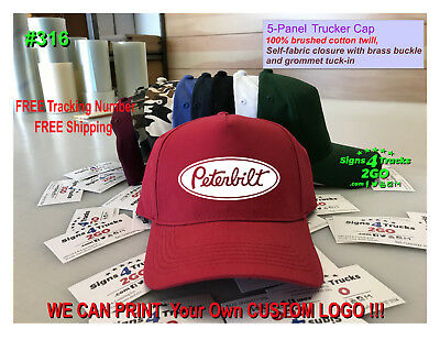 ca139b56ccf  0316 Hat 5-panel Twill Trucker Cap Semi Truck Peterbilt Classic Logo Decal  DOT