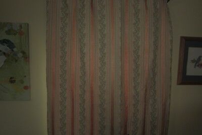 2 Pair 4 Panels Antique Satin Brocade Stripes Flower Double Lined Curtain Drape
