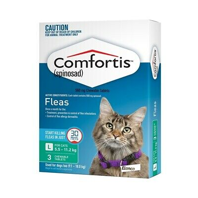 Comfortis Chewable Flea Control for Cats 5.5-11.2kg (Green) - 3-Pack