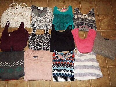 13 Pieces Juniors size Small mixed items lot Sweaters Tops Blouses dresses