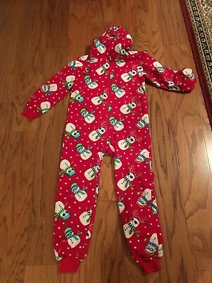 childrens place all in one hooded pajamas size 7-8