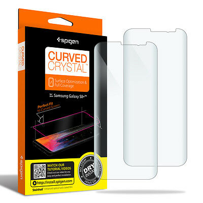 For Galaxy S8/S8 Plus Spigen [Curved Crystal] Film Screen Protector [2PK]