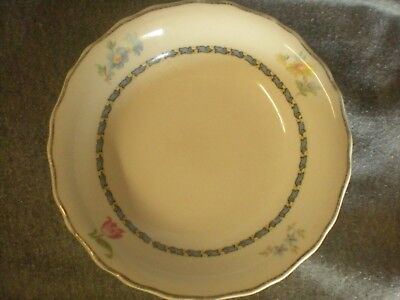 Vintage Antique China Bowl Gold Trim White With Painted Flowers