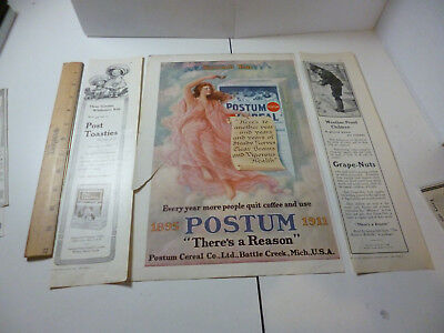 Antique 1911 Postum ads 16th Year, Wiederseim Kids, Boy Playing in Snow
