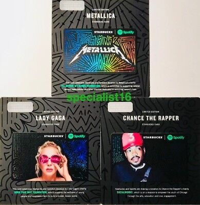 2017 Starbucks Spotify Set Metallica Lady Gaga Chance Limited Edition Card New