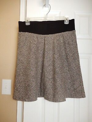 EXC! DUO MATERNITY Brown Ivory TWEED A Line SKIRT Size S 4 6 Lined
