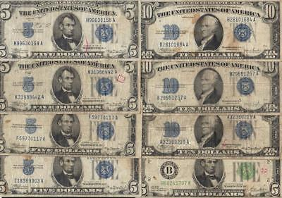 Dealer lot of 8 Small size currency, 1934 $5, $10 silvers, FRN
