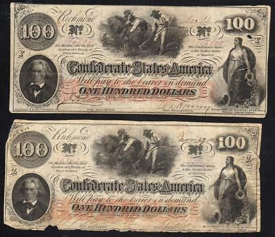 Pair of T-41 1862 $100 Confederate Currency Notes