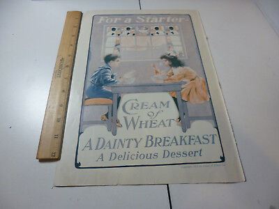 Antique 1911 Cream of Wheat ad Children Eating Breakfast Rastus Stained Glass