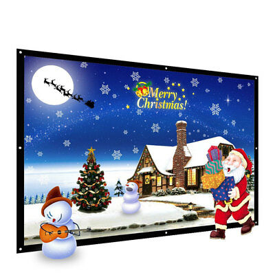 Home Cinema Office Projection Screen Projector Curtain Portable 100 Inch