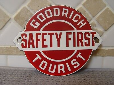 "Goodrich Tourist Tires Safety First 5"" Die-Cut Porcelain Advertising Sign Tire"