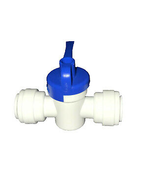 "(1x), 1/4"" John Guest-Style Push Fit Quick Connect, Straight Ball Valve, RO"