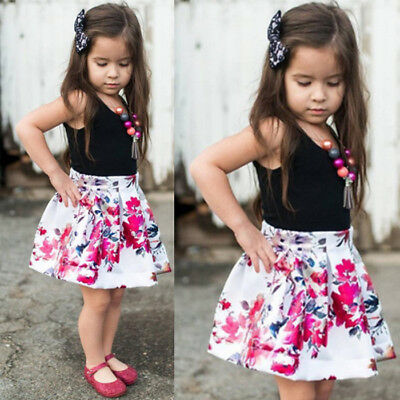 2PCS/Set Kids Infant Baby Girl T-shirt Tops+Floral Skirt Dress Outfit Clothes US