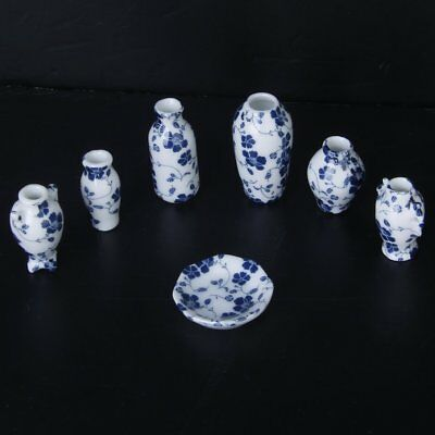 1/12 Dollhouse Miniatures Ceramics Porcelain Vase Blue Vine -7 piece A8N9