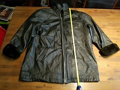 Leather Limited~Mens Sz XL Extra Large~Solid Black~Zip Front~Leather Jacket/Coat