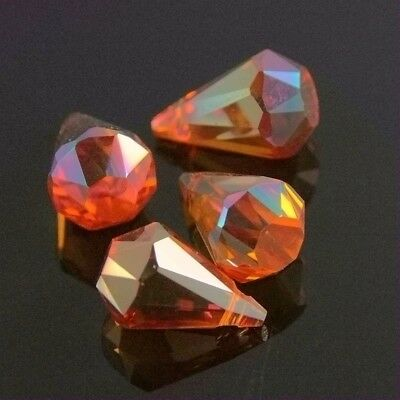 3pcs new design 9x14mm Flat Base Swaro  teardrop crystal bead D wine red