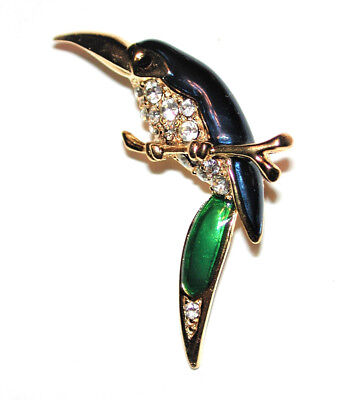 Vintage Toucan Bird Brooch Blue Green Enamel Wings Crystals Pin Sphinx Elegant!