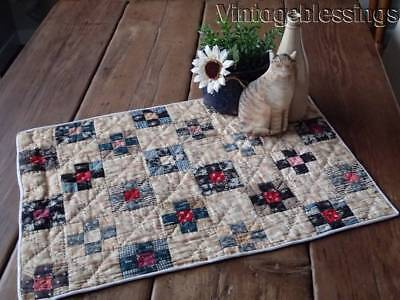 Early Antique Farmhouse Table Postage Stamp QUILT Prim 23x17