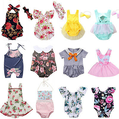 Newborn Toddler Baby Girl Floral Romper Bodysuit Jumpsuit Outfit Sunsuit Clothes