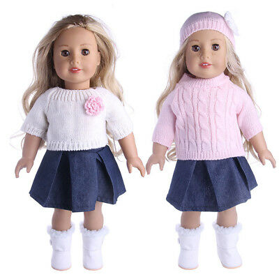 Sweater Cap Skirt Outfit Clothes Set For 18'' American Girl Our Generation Doll