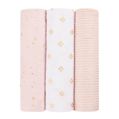 NEW aden + anais  3 Pack Classic Swaddles - Metallic Primrose