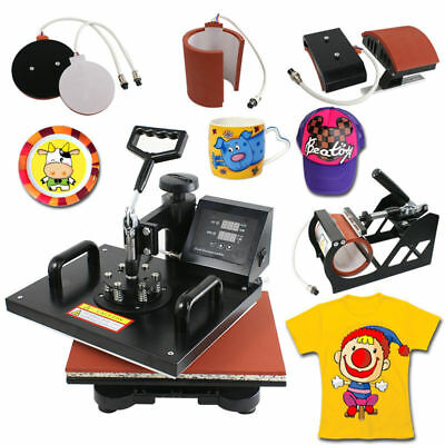 Details about  5 in 1 Dual Digital Transfer Sublimation Heat Press Machine for T