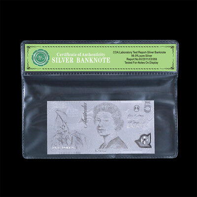 WR 2016 Australia $5 Dollar Polymer Note 999 Silver Foil Banknote Collection COA