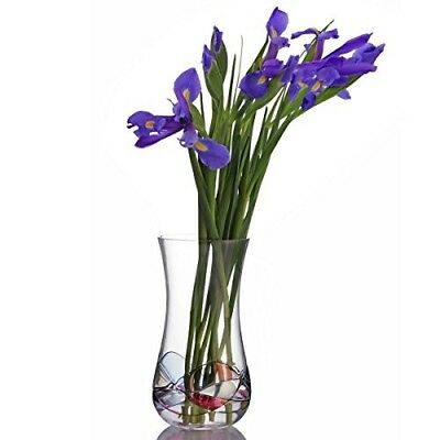 Glass Flower Vase Modern  Elegant Design Handcrafted Blown Twist Home Decor Gift