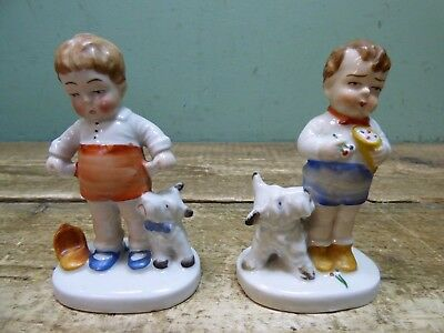 Two Vintage 1930's Comic Boy & Dog With Empty Pockets Foreign Porcelain Figures