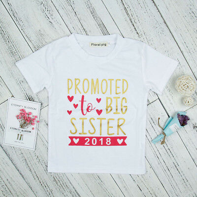 Baby Girl Promoted To Big Sister Letter Print Short Sleeve T-Shirt Top Deluxe