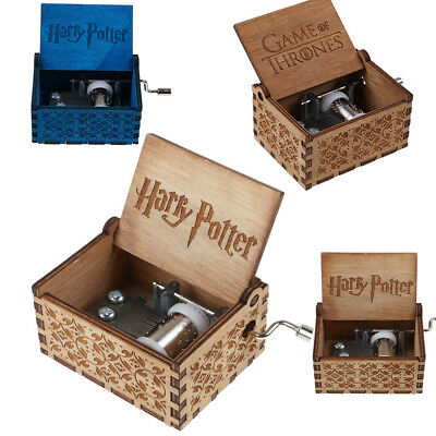 Harry Potter/Game of Thrones incise in legno da regalo Music Box fatto a mano