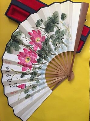 Oriental Ornament Quirky Chinese Wooden Fan W/ Box Secondhand Funky Used Ornate