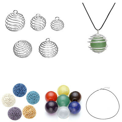 Silver Plated Spiral Bead Cages Pendants Findings Necklace Jewelry Making Gift