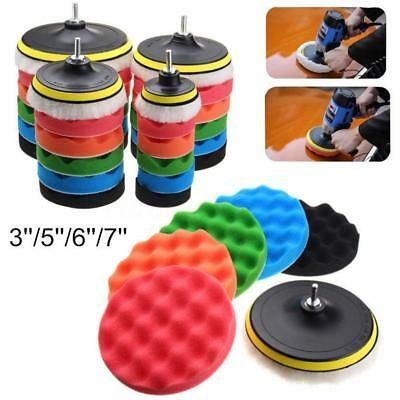 7pcs/set 3/5/6/7 Inch Sponge Polishing Waxing Buffing Pads Kit for Car Polisher