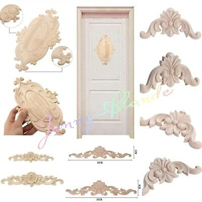 Lot Wood Carved Corner Onlay Applique Unpainted Frame Decal Home Furniture Decor