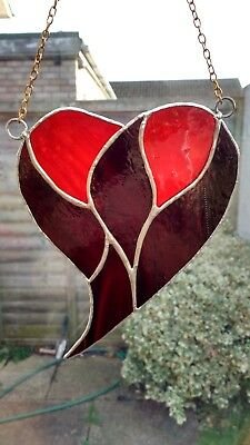 724d95b1327b Stained Glass Suncatcher Red Heart Valentines Day Mothers Day Gift Tiffany  Style