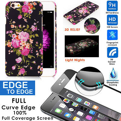Slim&Light 3D Touchable Flower Case+Full Coverage Real Glass iPhone 6 6S Plus5.5