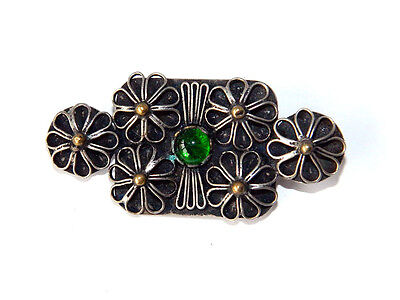 Vintage Artisan BROOCH Spring Flowers Hand-made Trench Art WWII WW2